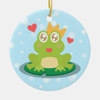 Kawaii frog with sparkling eyes on a lily pad Double-Sided ceramic round christmas ornament