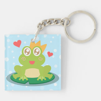 Kawaii frog with sparkling eyes on a lily pad keychain
