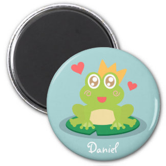 Kawaii frog with sparkling eyes on a lily pad magnet