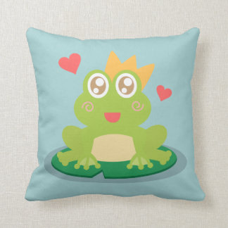 Kawaii frog with sparkling eyes on a lily pad pillows