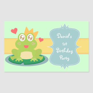 Kawaii frog with sparkling eyes on a lily pad rectangular sticker