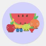 Kawaii Fruit Group Classic Round Sticker