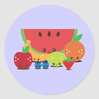 Kawaii Fruit Group Classic Round Sticker