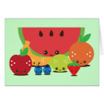 Kawaii Fruit Group Greeting Card