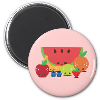 Kawaii Fruit Group 2 Inch Round Magnet