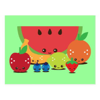 Kawaii Fruit Group Postcard