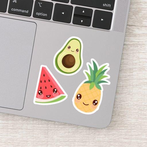 Kawaii Fruit | Watermelon, Pineapple & Avocado Sticker