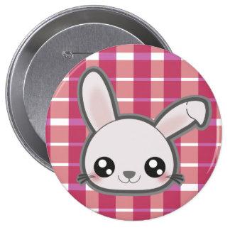 Kawaii funny bunny round button