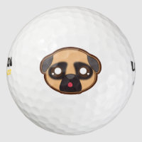 Kawaii funny pug golf ball