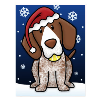 Kawaii German Shorthair Pointer Christmas Postcard