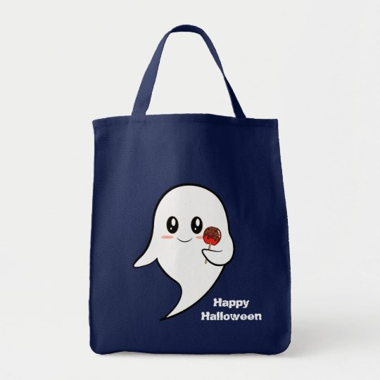 Kawaii ghost holding a candied apple tote bag