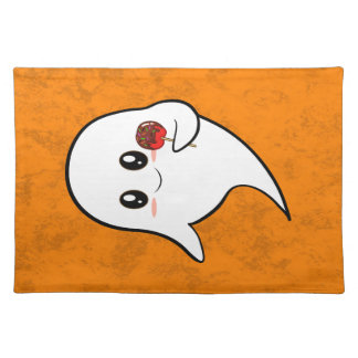 Kawaii ghost with candied apple placemat