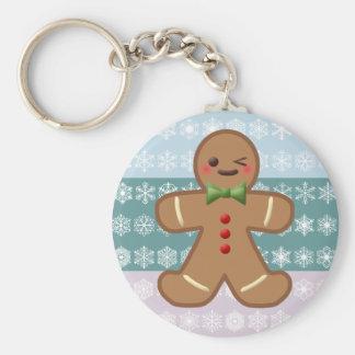 Kawaii Gingerbread Man & Snowflakes Keychain