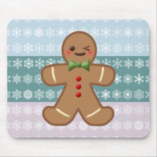Kawaii Gingerbread Man & Snowflakes Mouse Pad