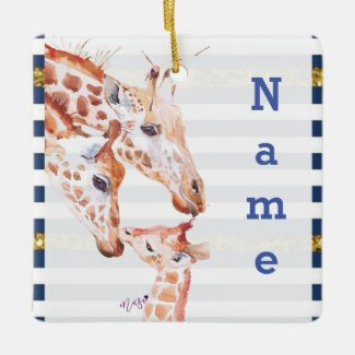 Kawaii Giraffe Family Trio Ornament