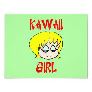 """kawaii girl blonde 4.25"""" x 5.5"""" invitation card"""