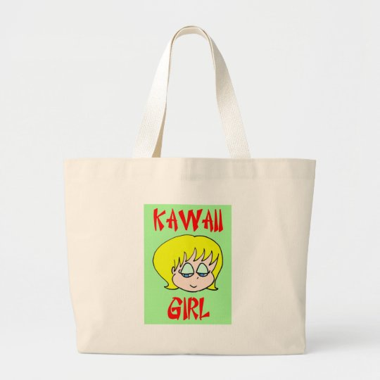 kawaii girl blonde large tote bag