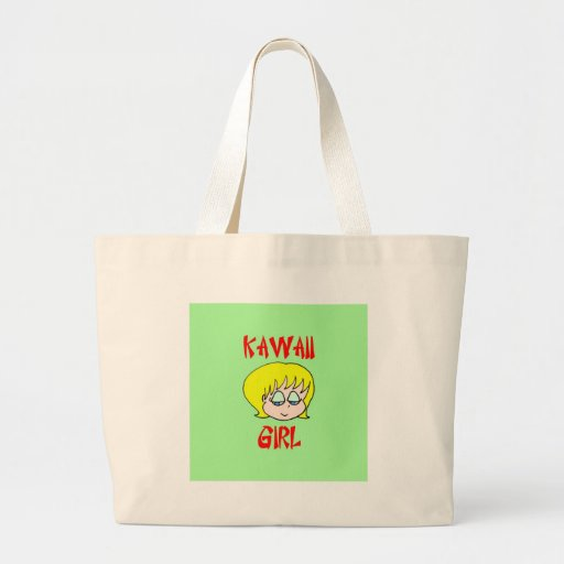 kawaii girl blonde large tote bag