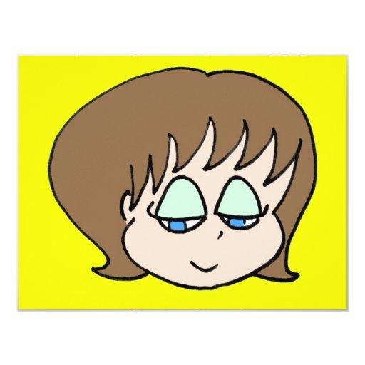 kawaii girl brown 4.25x5.5 paper invitation card