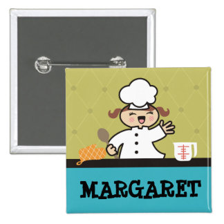 Kawaii girl chef kids cooking name tag badge 2 inch square button