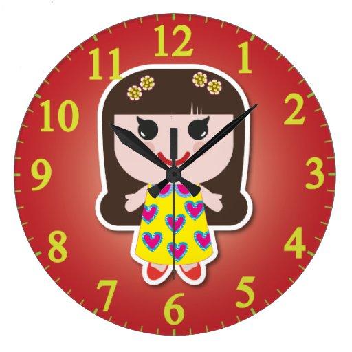 Kawaii Girl Cute Girl Wall Clock