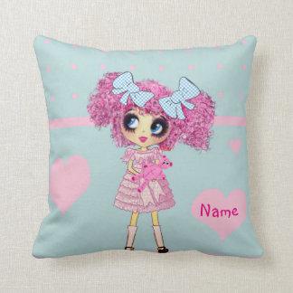 Kawaii Girl PinkyP pastel blue Pillows