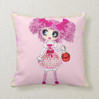 Kawaii Girl PinkyP so sweet Throw Pillows