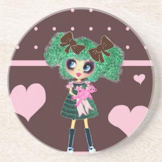 Kawaii Girl PinkyP sweetloli Beverage Coasters