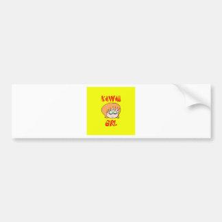 kawaii girl red bumper sticker