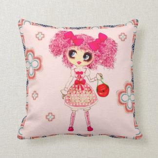 Kawaii Girl so cute and sweet Pillows
