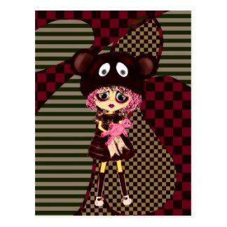 Kawaii Girl why so sad? Crying child with bear Postcard