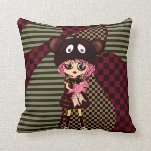 Kawaii Girl why so sad? Crying child with bear Throw Pillow Zazzle
