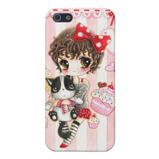 Kawaii girl with cat case for iPhone SE/5/5s