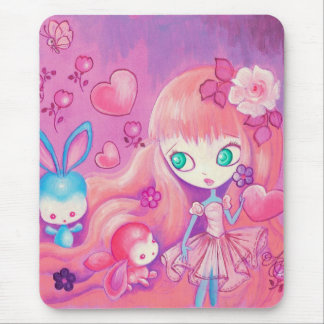 Kawaii Girl With Cute Bunnies Mouse Pad
