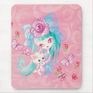 Kawaii Girl With Kitten Mouse Pads