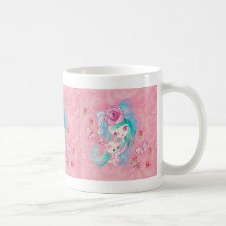 Kawaii Girl With Kitten Mugs