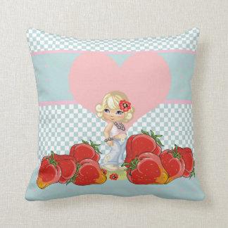 Kawaii girl with strawberries very cute throw pillows