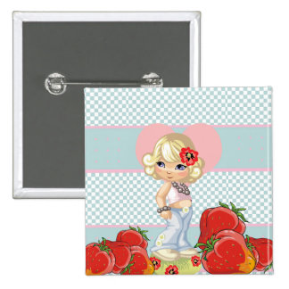Kawaii girl with strawberries very cute pinback button