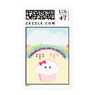 Kawaii Girly Cupcake Postage Stamp
