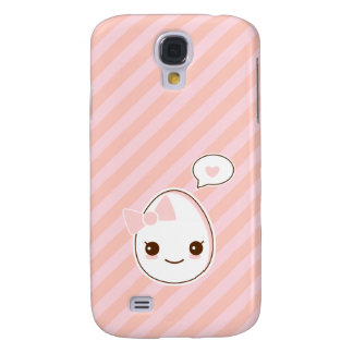 Kawaii girly Egg with a hapy face pink stripped Galaxy S4 Cases