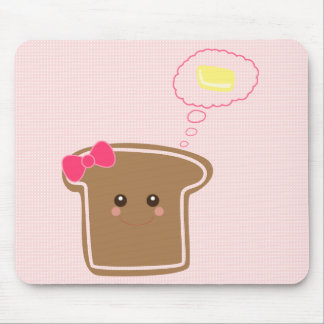 Kawaii Girly Toast n' Butter Mouse Pad