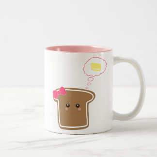 Kawaii Girly Toast n' Butter Two-Tone Coffee Mug