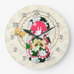 Kawaii Gold Bow and Flowers Matryoshka Wallclocks