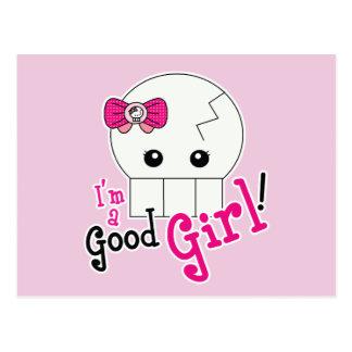Kawaii Good Girl Cute Skeleton Postcard