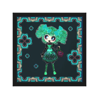 Kawaii Goth Girl Emerald Lolita PinkyP Canvas Print