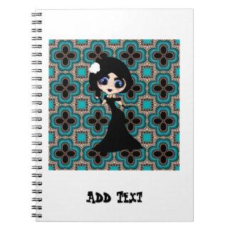 Kawaii Gothic Lolita ArtDeco girl Spiral Notebook