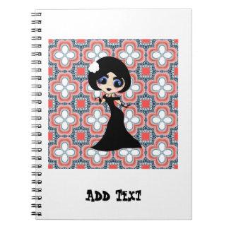 Kawaii Gothic Lolita ArtDeco girl Notebooks