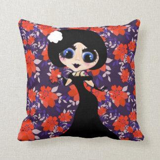 Kawaii Gothic Lolita ArtDeco girl Throw Pillows