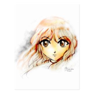 Kawaii grande de los ojos del bosquejo del chica postal
