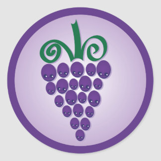 Kawaii Grapes Classic Round Sticker